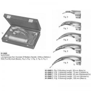 McINTOSH Laryngoscope Set With 5 McIntosh Blades