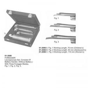 FOREGGER Laryngoscope Set With 3 Foregger Blades