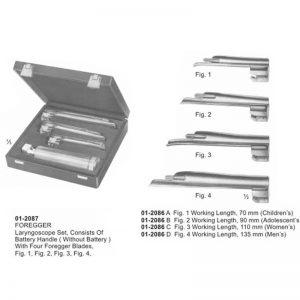 FOREGGER Laryngoscope Set With 4 Foregger Blades