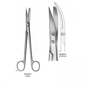 Sims Gynaecology Curved Scissor Sharp-Blunt 200 mm