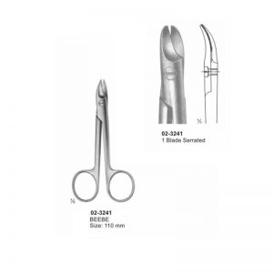 Beebe Curved Scissor 110 mm 1 Blade Serrated